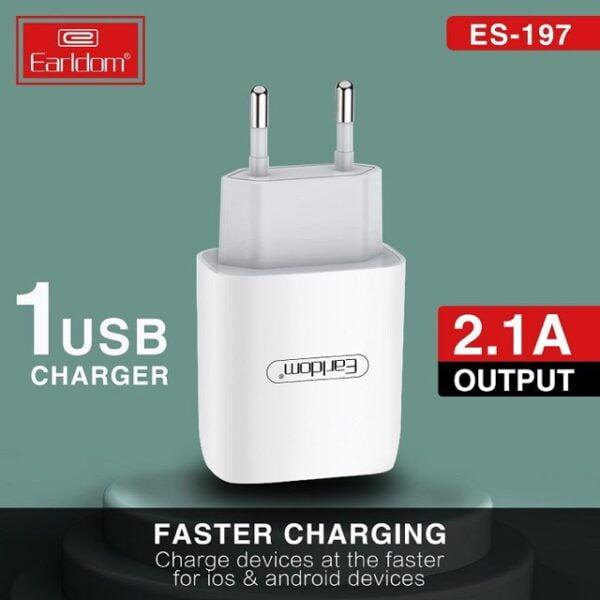 დამტენი ადაპტერი+კაბელი – Earldom ES-197 With Micro USB