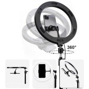 სელფის განათება–Rock Selfie Light With Tripod Stand & Phone Holder (single camera) (RPH0947)