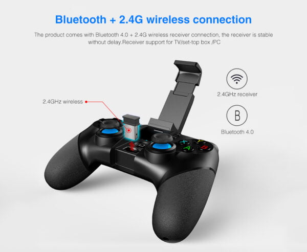 Ipega PG-9156 Wireless Bluetooth Joystick Game Controller with 2.4GHz USB Receiver for iOS Android Smartphone/PC/TV/Tablet - Black